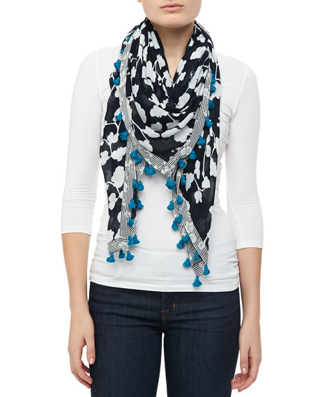 Orchid-Print Tassel Scarf, Navy