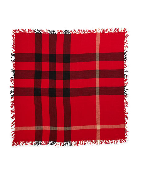 Color Check Square Scarf, Red