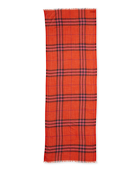 Giant-Check Gauze Scarf, Orange-Red