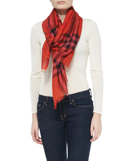 Burberry Giant-Check Gauze Scarf, Orange-Red