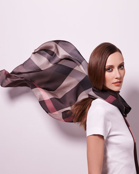 Oblong Check Scarf, Brown