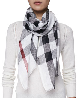 Burberry Core Oblong Linen Check Scarf, Ivory