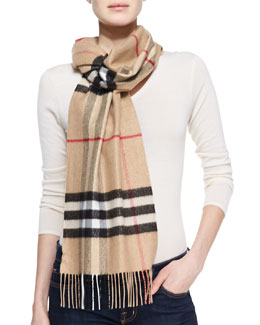 Burberry Giant Check Metallic Cashmere Scarf