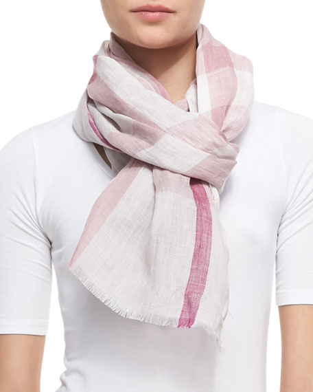 Linen Check Scarf, Blossom Pink