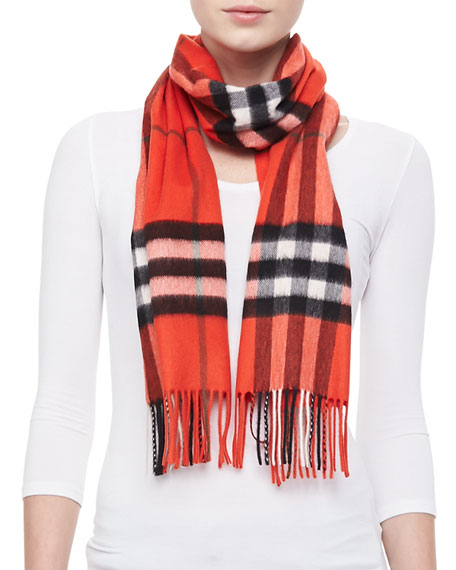 Giant Icon Check Cashmere Scarf, Orange-Red