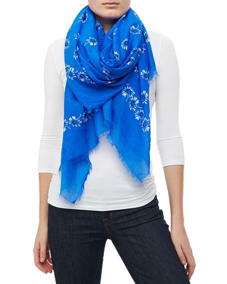 Floral Voile Fringe Scarf, Blue