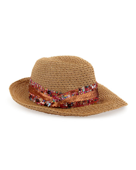 Gabriella Sequined Straw Fedora, Camel/Copper