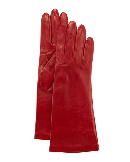 Four-Button Silk-Lined Classic Gloves, Red