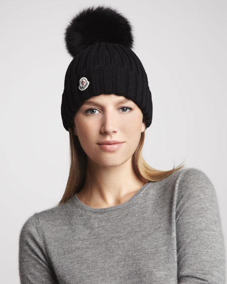 moncler hat fur pom pom