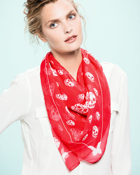 Butterfly-Skull Chiffon Scarf, Red/White