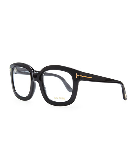 Oversize Square Fashion Glasses, Black/Rose Golden