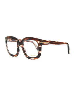 Tom Ford Oversize Square Fashion Glasses, Rose Golden