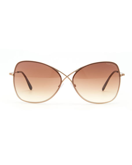 Colette Metal-Frame Butterfly Sunglasses, Rose Golden