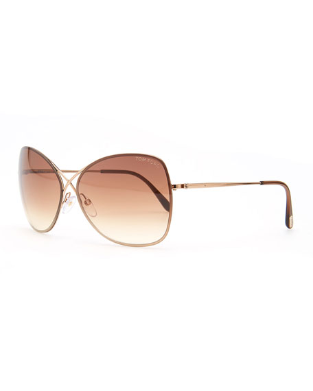 TOM FORD Colette Metal-Frame Butterfly Sunglasses, Rose Golden