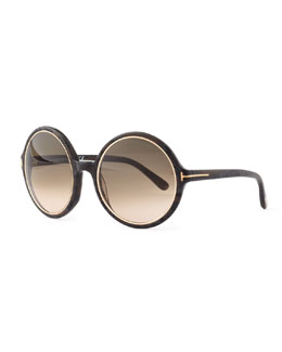 Tom Ford Carrie Round Frames, Black