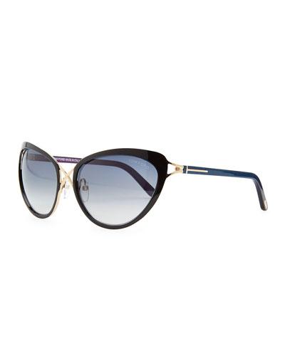 Tom Ford Daria Metal Cross-Front Cat-Eye Sunglasses, Black