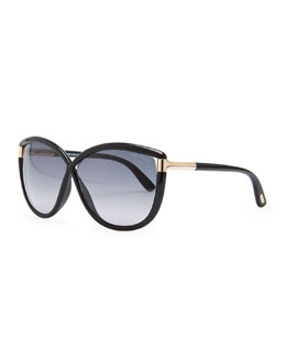 Tom Ford Abbey Oversized Cat-Eye Sunglasses, Black