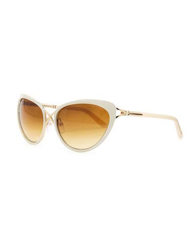 Tom Ford Daria Metal Cross-Front Cat-Eye Sunglasses, Ivory