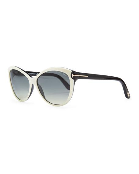 Telma Cat-Eye Sunglasses, Ivory/Black