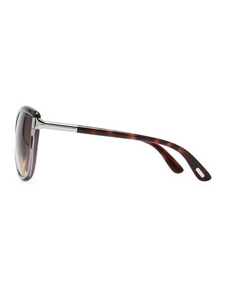 Abbey Oversized Cat-Eye Sunglasses, Brown