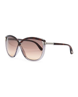 Tom Ford Abbey Oversized Cat-Eye Sunglasses, Brown