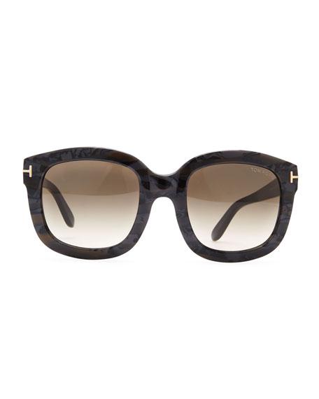 Christophe Square Sunglasses, Black