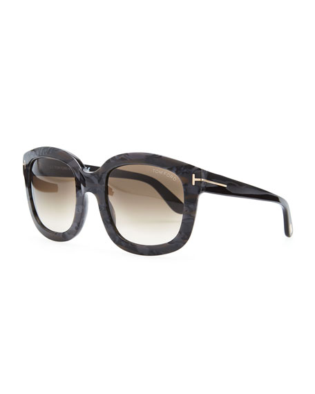 Christophe Square Sunglasses, Black