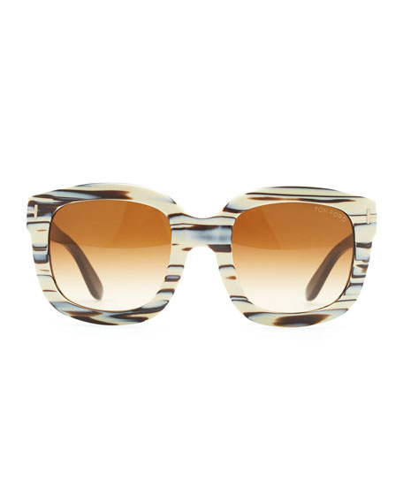 Christophe Square Sunglasses, Ivory/Brown