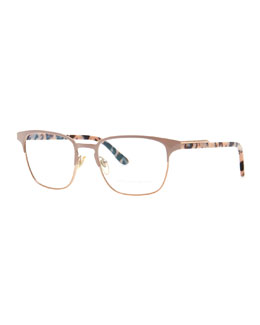 Stella McCartney Half-Frame Optical Glasses, Copper/Nude