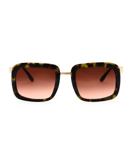 Chunky Square Sunglasses, Green Tortoise
