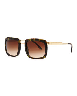 Stella McCartney Chunky Square Sunglasses, Green Tortoise