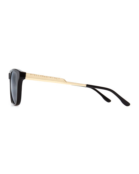 Mirrored Square Acetate Sunglasses, Black/Smoke