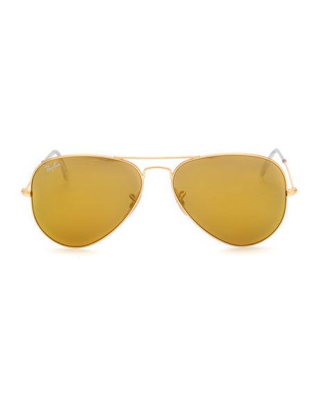 Aviator Mirrored Sunglasses, Brown