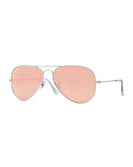 Ray-Ban Aviator Mirrored Sunglasses, Brown/Pink