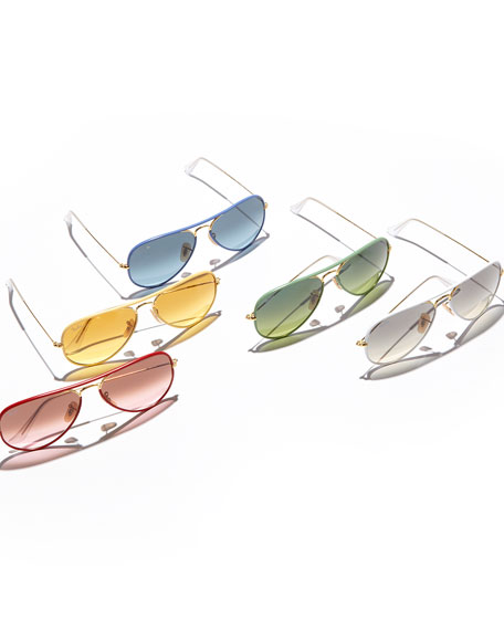 Aviator Gradient Sunglasses, White