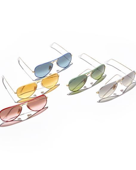 Aviator Gradient Sunglasses, Green