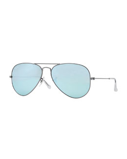 Ray-Ban Aviator Mirrored Sunglasses, Green/Blue
