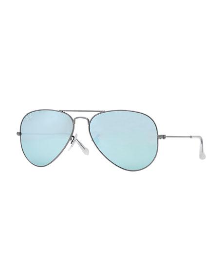 Aviator Mirrored Sunglasses, Green/Blue