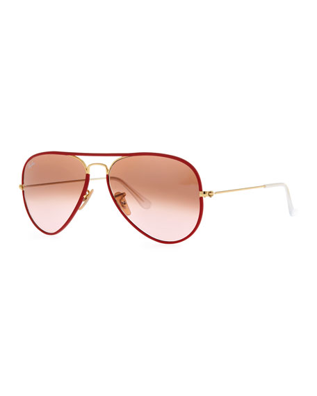 Aviator Gradient Sunglasses, Red