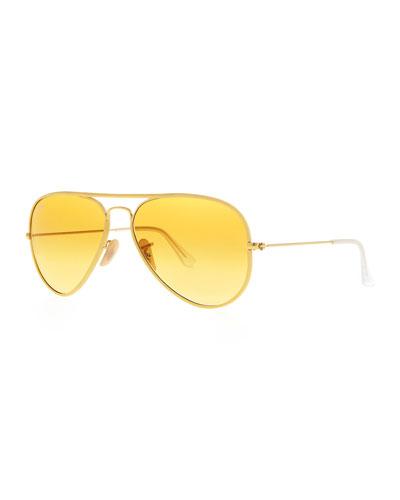 Ray-Ban Aviator Gradient Sunglasses, Yellow