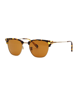 Oliver Peoples Banks Half-Rim Sunglasses, Tortoise