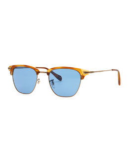 Oliver Peoples Banks Half-Rim Sunglasses, Light Brown
