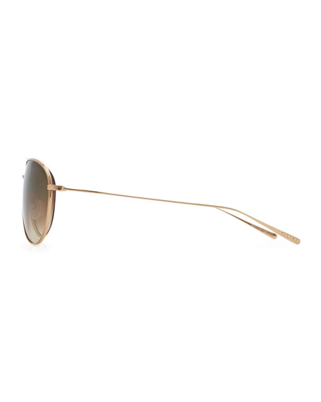 Tavener Mirrored Aviator Sunglasses, Gold