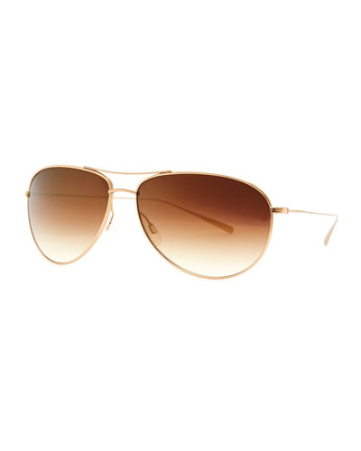 Oliver Peoples Tavener Mirrored Aviator Sunglasses, Gold