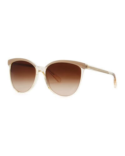 Oliver Peoples Ria Oversized Wayfarer Sunglasses, Beige