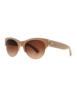 Oliver Peoples Louella Rimless Sunglasses, Beige