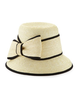 kate spade new york asymmetric fancy bow straw hat, natural/black
