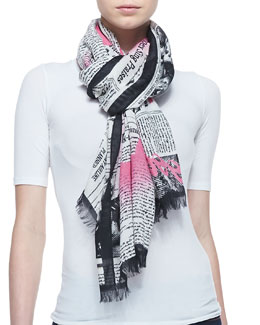 kate spade new york newspaper print scarf, black/cream