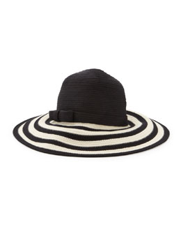 kate spade new york striped wide-brim sun hat, black/cream