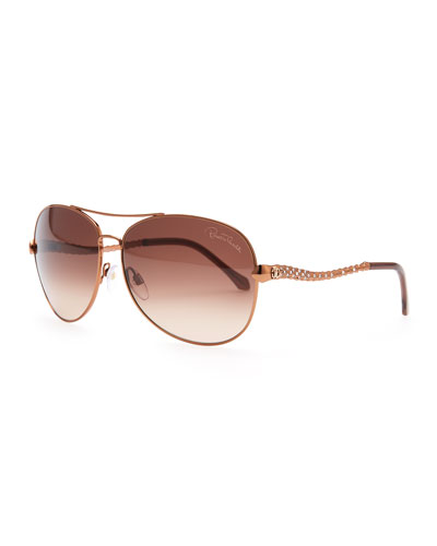 Roberto Cavalli Adhil Crystal-Arm Aviator Sunglasses, Bronze